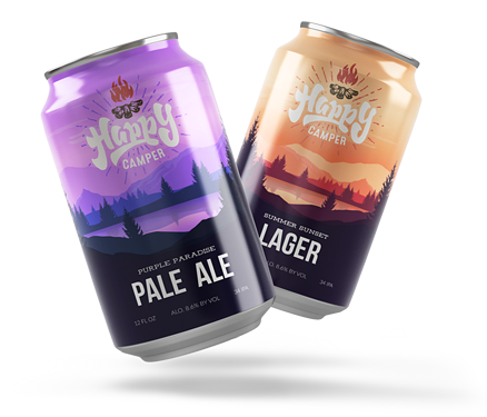 Two craft beverage cans with company branded shrink sleeves