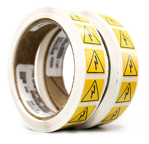 Two rolls of durable warning labels