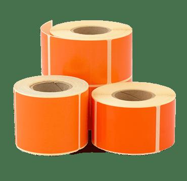 3 rolls of blank orange stock labels