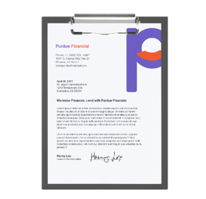 Financial services form letter for customer signature on branded letterhead