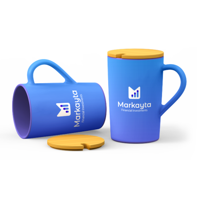 blue promotional travel mugs with removable wooden lid branded for a financial investment company