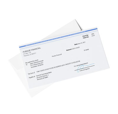 Banking envelope and secure stock check with LASER LOCK, microprinting, thermochromic ink, CopyBan Capture, and control numbers to prevent fraud