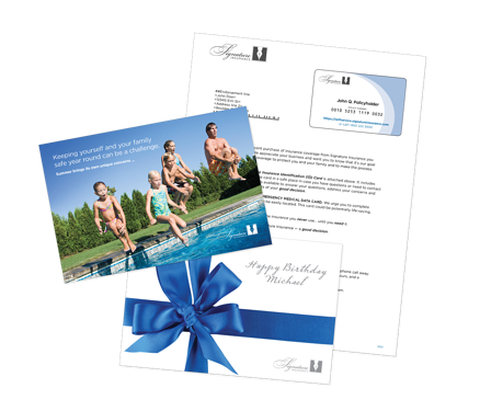 insurance direct mail letter and postcard